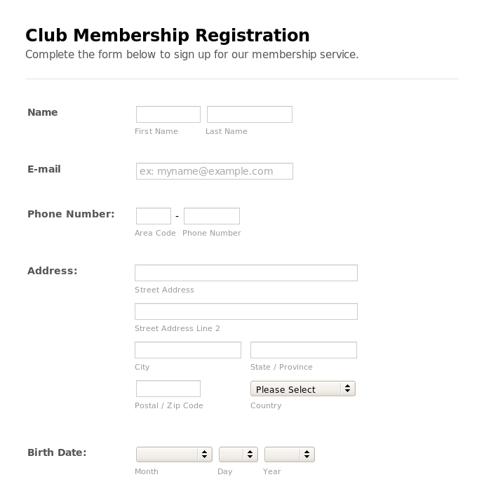 free church membership forms template